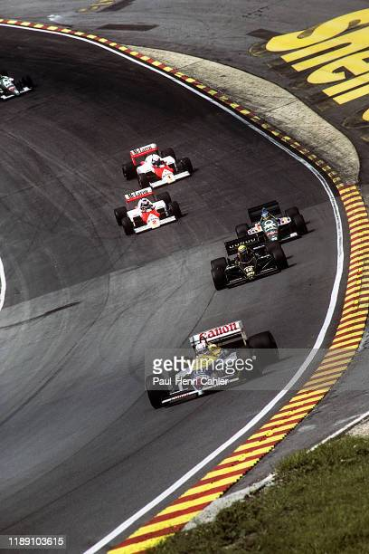 Nigel Mansell, Ayrton Senna, Gerhard Berger, Alain Prost, Keke Rosberg, Williams-Renault FW14B, Grand Prix of Great Britain, Brands Hatch Circuit, 13...