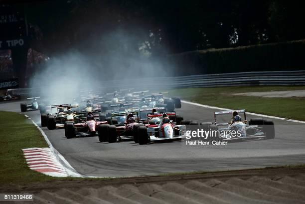 Nigel Mansell Ayrton Senna McLarenHonda MP4/6 WilliamsEenault FW14 Grand Prix of Italy Monaco 13 September 1992
