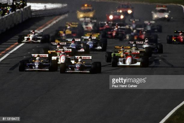 Nigel Mansell Ayrton Senna McLarenHonda MP4/6 WilliamsEenault FW14 Grand Prix of Japan Suzuka 25 October 1992