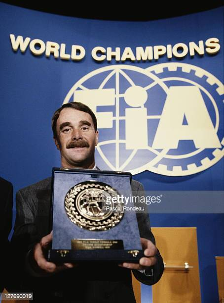 Nigel Mansell driver of the Canon Williams Renault Williams FW14B Renault 35 V10 during the Federation Internationale de L'automobile FIA Formula 1...