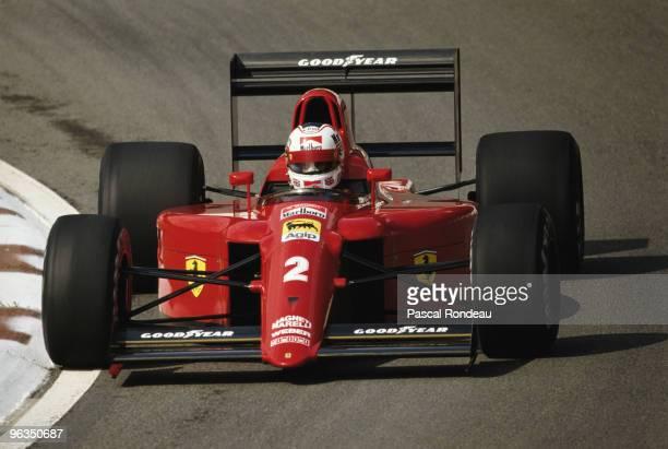 Nigel Mansell drives the Scuderia Ferrari 641 during pre season testing in February 1990 at the Autodromo Enzo e Dino Ferrari in Imola San Marino