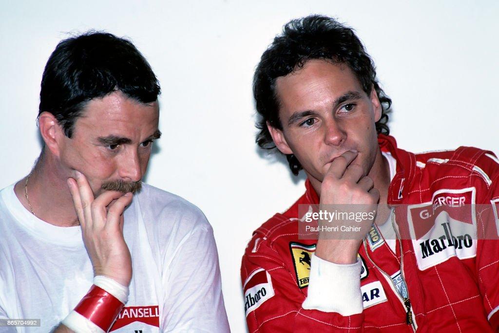 Nigel Mansell, Gerhard Berger, Grand Prix Of Spain : News Photo