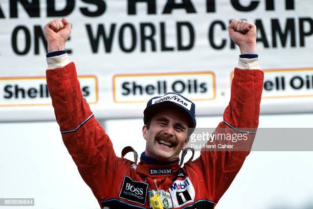 Nigel Mansell Grand Prix of Great Britain Brands Hatch 13 July 1986 Nigel Mansell is ecstatic after his victory in the 1986 Grand Prix of Great...