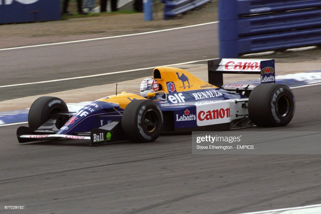 Nigel Mansell in the Williams-Renault on his way to winning the British Grand Prix. Great Britain's Nigel Mansell scored a Grand Chelem in the race (led every lap from pole position and set fastest lap of the race) as part of his 1992 Formula One Championship winning season.