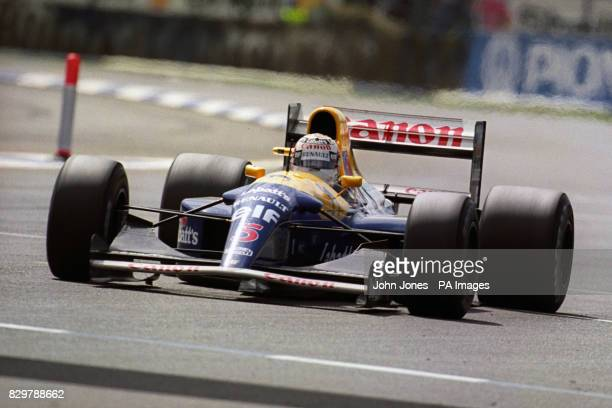 Nigel Mansell in the WilliamsRenault on his way to winning the British Grand Prix Great Britain's Nigel Mansell scored a Grand Chelem in the race as...