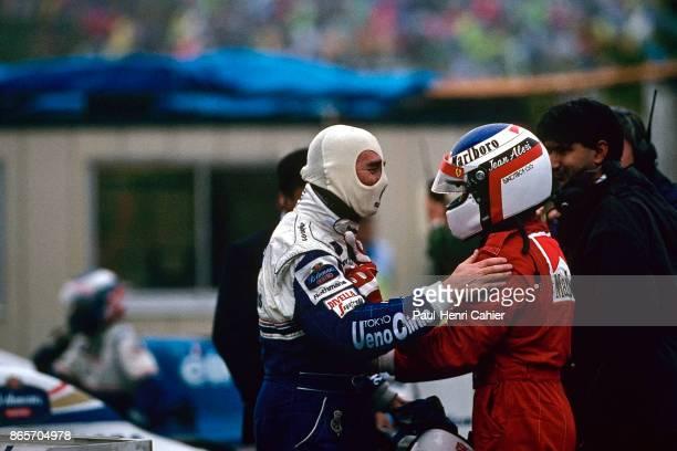 Nigel Mansell, Jean Alesi, Williams-Renault FW16B, Ferrari 412T1B, Grand Prix of Japan, Suzuka Circuit, 06 November 1994. Nigel Mansell and Jean...