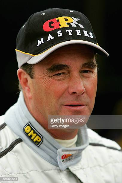 Nigel Mansell looks on during a GP Masters testing at Pembrey Circuit on October 12 2005 in Pembrey Wales
