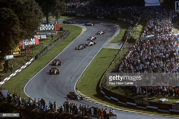 Nigel Mansell, Manfred Winkelhock, Patrick Tambay, Ferrari126C3, Grand Prix of Great Britain, Silverstone Circuit, 16 July 1983.