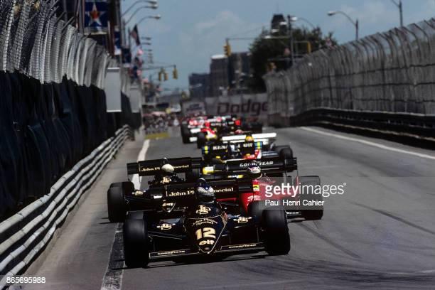 Nigel Mansell, Michele Alboreto, Elio de Angelis, Lotus-Renault 95T, Ferrari 126C4, Grand Prix of Detroit, Detroit street circuit, 24 June 1984.