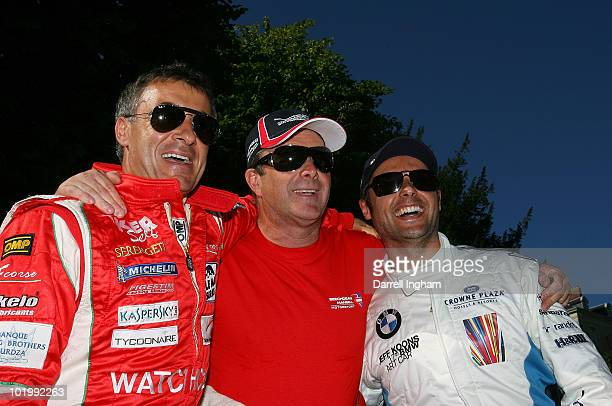 Nigel Mansell of Great Britain and the driver of the Beechdean Mansell Motorsport Ginetta Zytek shares a joke with Jean Alesi of France and Andy...