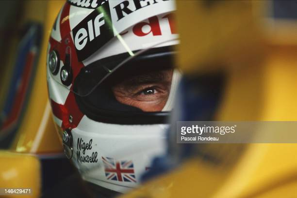 Nigel Mansell of Great Britain driver of the Canon Williams Renault Williams FW14B Renault V10 during practice for the Coca Cola Italian Grand Prix...