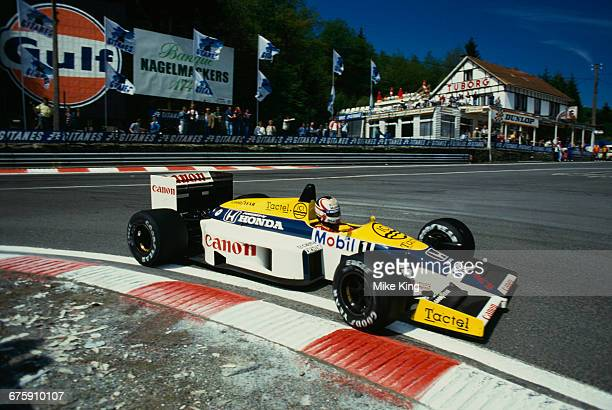 Nigel Mansell of Great Britain drives the Canon Williams Honda Williams FW11 Honda RA166E V6 turbo during the Belgian Grand Prix on 25 May 1986 at...