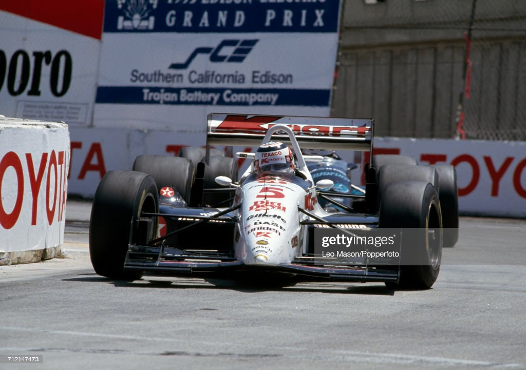 Nigel Mansell of Great Britain enroute to a third place finish, driving a #5 Lola T93/00 with a Ford Cosworth XB engine for Kmart Texaco Newman/Haas Racing, during the IndyCar Streets of Long Beach Grand Prix in Long beach, United States on 18th April 1993.