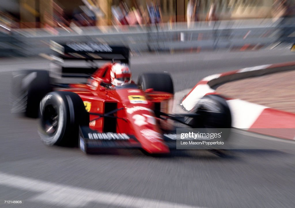 Nigel Mansell of Great Britain in action, driving a #27 Ferrari 640 with a Ferrari 035/5 3.5 V12 engine for Scuderia Ferrari SpA SEFAC, during the Monaco Grand Prix at Monte Carlo on 7th May 1989. Mansell would go on to retire from the race during the 30th lap with gearbox problems.