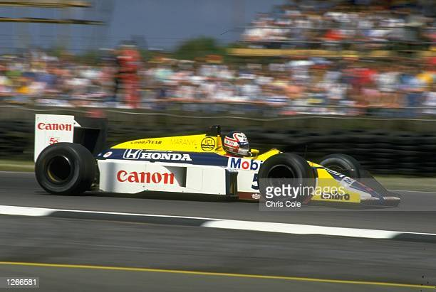 Nigel Mansell of Great Britain in action in his Williams Honda during the British Grand Prix at the Silverstone circuit in England. Mansell finished...