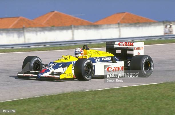 Nigel Mansell of Great Britain in action in his Williams Honda during the Brazilian Grand Prix at the Rio circuit in Brazil Mansell finished in sixth...
