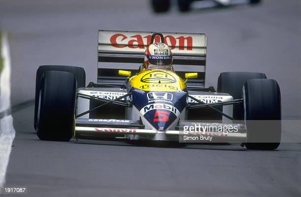Nigel Mansell of Great Britain in action in his Williams Honda during the British Grand Prix at the Brands Hatch circuit in England Mansell finished...