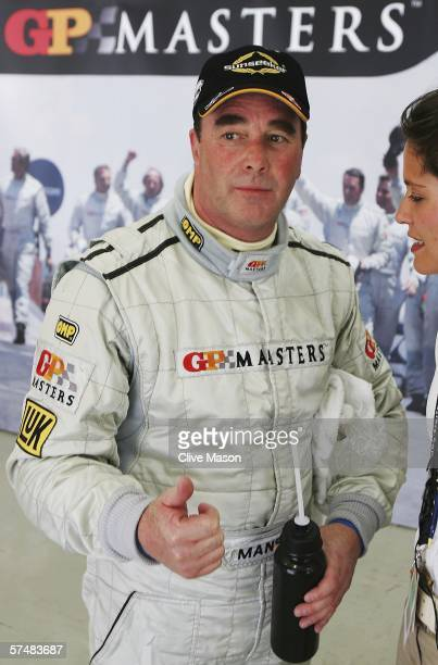 Nigel Mansell of Great Britain in the garage after securing pole position after qualifying for the Grand Prix Masters race at the Losail...