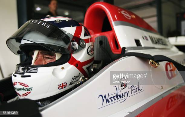 Nigel Mansell of Great Britain in the pits during first practice prior to the Grand Prix Masters race at the Losail International Circuit on April 27...