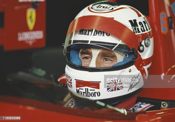 Nigel Mansell of Great Britain sits aboard the Scuderia Ferrari Ferrari 640 V12 during practice for the Italian Grand Prix on 10th September 1989 at...