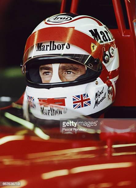 Nigel Mansell of Great Britaindriver of the Scuderia Ferrari SpA Ferrari F1902 Ferrari V12 during practice for the Italian Grand Prix on 8 September...