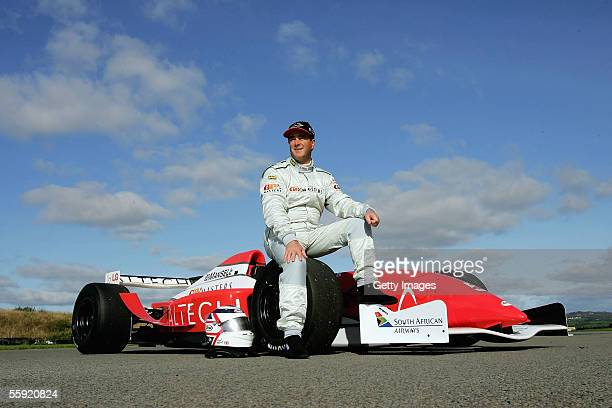 Nigel Mansell poses during a GP Masters testing at Pembrey Circuit on October 13 2005 in Pembrey Wales