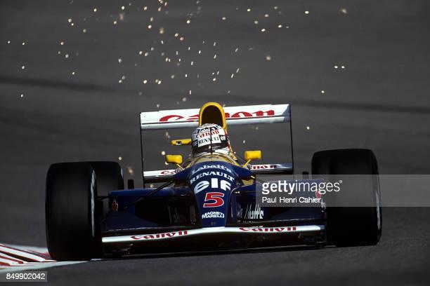 Nigel Mansell WilliamsRenault FW14B Grand Prix of Belgium Circuit de SpaFrancorchamps Francorchamps Beligium August 30 1992 Nigel Mansell through the...