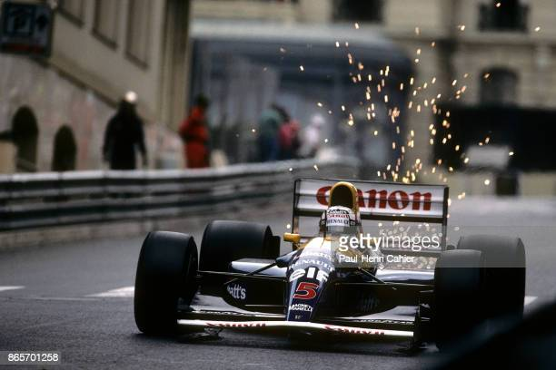 Nigel Mansell, Williams-Renault FW14B, Grand Prix of Monaco, Circuit de Monaco, 31 May 1992. Sparks flying as Nigell Mansell exits Casino square and...