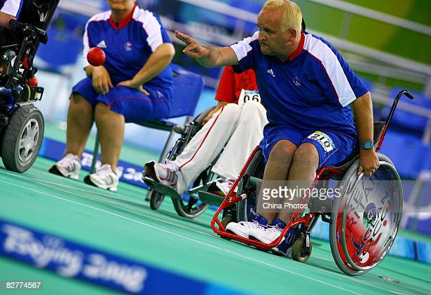 Nigel Murray of Great Britain competes in the Mixed Team BC12 Semifinal 1 Boccia match between China and Great Britain at the Fencing Hall during day...