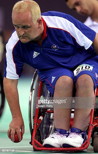 Nigel Murray of Great Britain on his way to winning Gold in the Boccia final between Great Britain and Portugal at the Fencing hall of the National...