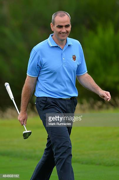 Nigel Pearce of Sleaford Golf Club on the 16th green during the first round of the Lombard Trophy Grand Final at Gleneagles on September 2 2014 in...