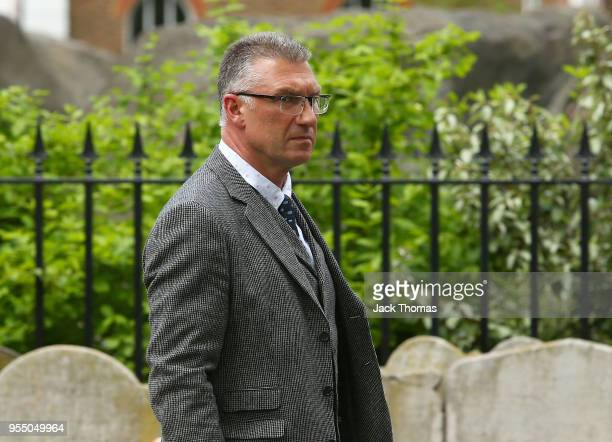 Nigel Pearson attends memorial held for Ray Wilkins at St Luke's Christ Church on May 1 2018 in London England