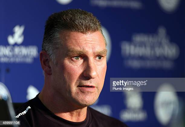 Nigel Pearson Leicester City Manager addresses the media during the Leicester City Press Conference at the King Power Stadium on December 5 2014 in...