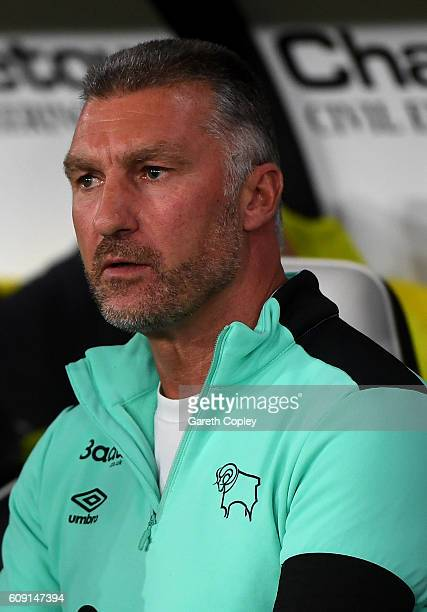 Nigel Pearson Manager of Derby County looks on during the EFL Cup Third Round match between Derby County and Liverpool at iPro Stadium on September...