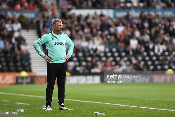 Nigel Pearson manager of Derby County looks on during the Sky Bet Championship match between Derby County and Blackburn Rovers at iPro Stadium on...