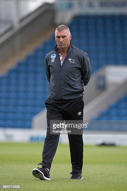 Nigel Pearson manager of Derby County prior to the PreSeason Friendly between Chesterfield and Derby County at Proact Stadium on July 26 2016 in...