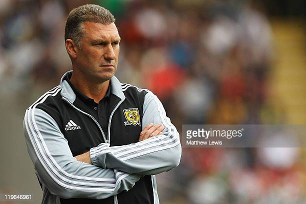 Nigel Pearson manager of Hull City in action during the Pre Season Friendly match between Hull City and Liverpool at KC Stadium on July 23 2011 in...