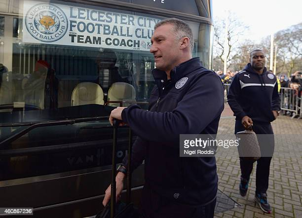 Nigel Pearson manager of Leicester City arrives prior to the Barclays Premier League match between Hull City and Leicester City at KC Stadium on...