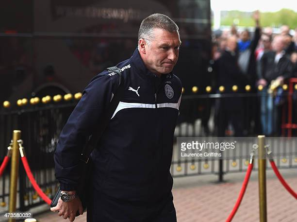 Nigel Pearson manager of Leicester City arrives prior to the Barclays Premier League match between Sunderland and Leicester City at Stadium of Light...