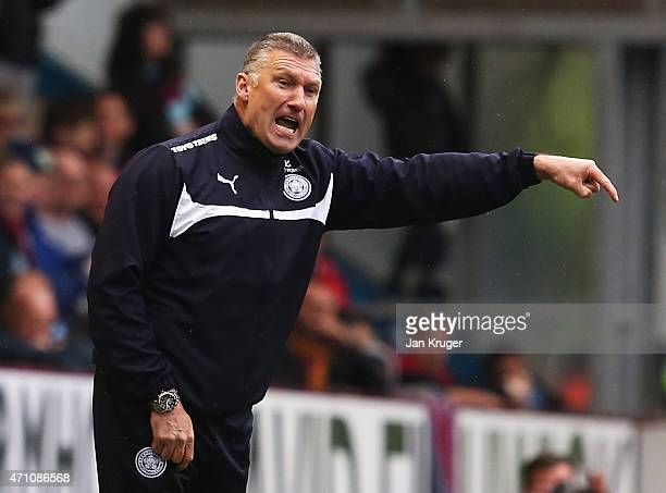 Nigel Pearson manager of Leicester City gives instructions during the Barclays Premier League match between Burnley and Leicester City at Turf Moor...