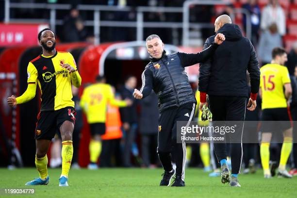 Nigel Pearson, Manager of Watford and Nathaniel Chalobah of Watford celebrate victory during the Premier League match between AFC Bournemouth and...