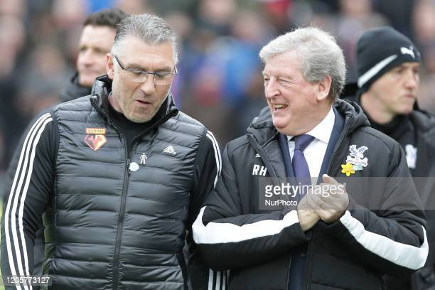Nigel Pearson manager of Watford talking to Roy Hodgson manager of Crystal Palace during the Premier League match between Crystal Palace and Watford...
