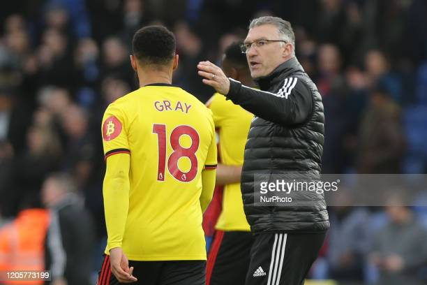 Nigel Pearson manager of Watford with Andre Gray of Watford during the Premier League match between Crystal Palace and Watford at Selhurst Park...