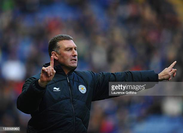 Nigel Pearson of Leicester City gives out instuctions during the npower Championship match between Leicester City and Crystal Palace at Walkers...