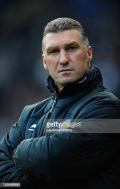 Nigel Pearson of Leicester City looks on during the npower Championship match between Leicester City and Crystal Palace at Walkers Stadium on...