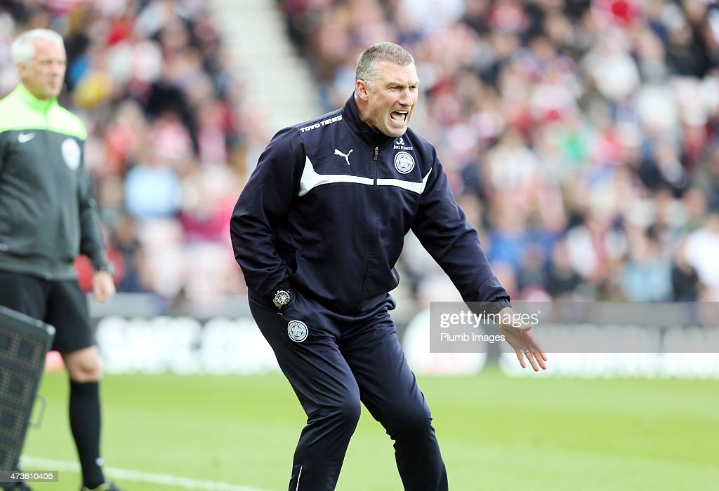 Nigel Pearson of Leicester City reacts during the Premier league match between Sunderland and Leicester City at The Stadium of Light on May 16, 2015 in Sunderland, England.