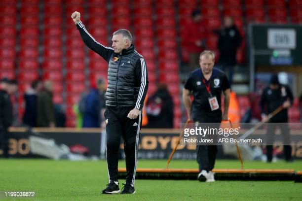 Nigel Pearson of Watford after his sides 30 win during the Premier League match between AFC Bournemouth and Watford FC at Vitality Stadium on January...