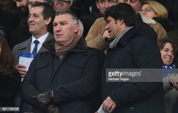 Nigel Pearson watches from the stands during the Premier League match between Everton and Manchester City at Goodison Park on January 15 2017 in...