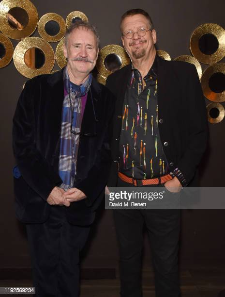 Nigel Planer and Penn Jillette attend the press night after party for Magic Goes Wrong at Proud Embankment on January 8 2020 in London England