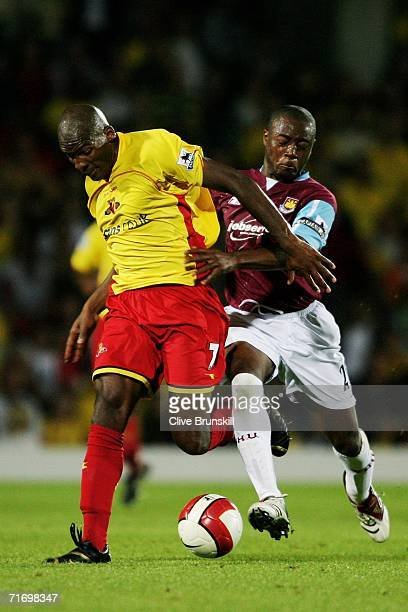 Nigel Reo-Coker of West Ham United battles with Damien Francis of Watford during the Barclays Premiership match between Watford and West Ham United...